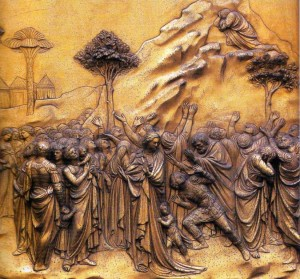 Moses receiving Law - Lorenzo Ghiberti 15th Century